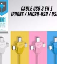 CABLE 3 EN 1 DE USB A MICRO USB - USB C - IPHONE